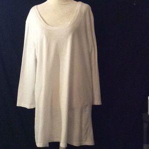 FLAX white 3/4 sleeves cotton knit tunic # XL